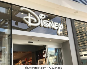 LOS ANGELES, DEC 9TH, 2017: Close up of Disney logo above the entrance to the Disney store at the newly opened Westfield Century City mall. Disney has made a to buy most of 21st Century Fox.