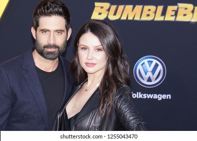LOS ANGELES, DEC 9th, 2018: Actor Stephen Schneider with his wife, Jenn Proske, on the red carpet at the global premiere of Paramount Pictures' movie Bumblebee, at the Chinese Theatre in Hollywood.
