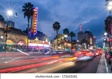 LOS ANGELES - DECEMBER 18, 2013: View of Hollywood Boulevard by night. In 1958, the Hollywood Walk of Fame was created on this street as a tribute to artists working in the entertainment industry.