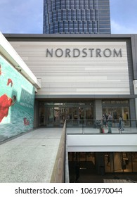 LOS ANGELES, December 9th, 2017: Exterior shot of a Nordstrom department store at the Westfield shopping mall in Century City.