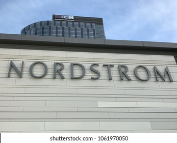 LOS ANGELES, December 9th, 2017: Extreme close up of the Nordstrom department store logo at the Nordstrom store at the Westfield shopping mall in Century City.
