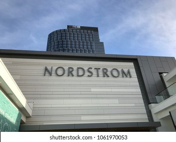 LOS ANGELES, December 9th, 2017: Close up of the Nordstrom department store logo at the Nordstrom store at the Westfield shopping mall in Century City.