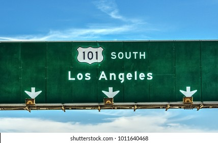 Los Angeles direction sign on 101 freeway southbound, California