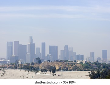 Los Angeles Downtown Air Pollution Skyline Horizontal Panoramic