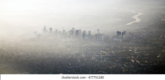 Los Angeles downtown in the mist and the smog