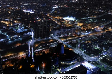 Los Angeles Downtown Night 01 Freeway Interchange Aerial View from top of skyscraper