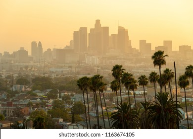 Los Angeles downtown skyline evening