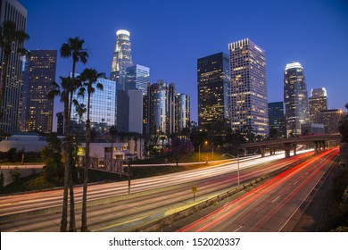 Los Angeles downtown skyline at night time-lapse long exposure