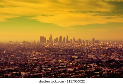Los Angeles downtown skyline at sunrise.