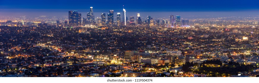 Los Angeles Downtown sunset aerial view, California, USA panorama
