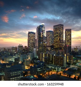 Los Angeles downtown at sunset, California