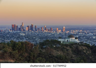 Los Angeles downtown Sunset Cityscape with Griffin Observatory, California
