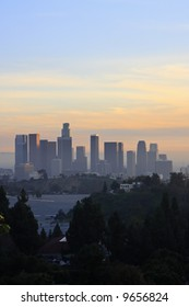 Los Angeles Downtown Sunset Skyline