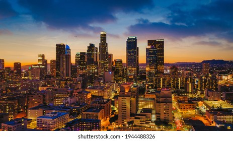 Los Angeles drone view of downtown skyline