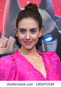 """LOS ANGELES - FEB 02:  Alison Brie arrives to """"The LEGO Movie 2: The Second Part"""" World Premiere on February 02, 2019 in Westwood, CA"""