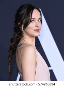 """LOS ANGELES - FEB 02:  Dakota Johnson arrives to the """"Fifty Shades Darker"""" Los Angeles Premiere on February 2, 2017 in Los Angeles, CA"""