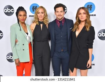 LOS ANGELES - FEB 05:  Kelly McCreary, Kim Raver, Giacomo Gianniotti and Camilla Luddington arrives for the ABC Winter Press Tour 2019 on February 05, 2019 in Pasadena, CA