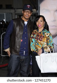 """LOS ANGELES - FEB 05:  T.I. & Tameka 'Tiny' Cottle arrives to the """"Identity Thief"""" World Premiere  on February 04, 2013 in Westwood, CA"""