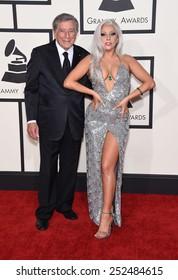 LOS ANGELES - FEB 08:  Tony Bennett & Lady Gaga arrives to the Grammy Awards 2015  on February 8, 2015 in Los Angeles, CA
