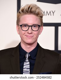 LOS ANGELES - FEB 08:  Tyler Oakley arrives to the Grammy Awards 2015  on February 8, 2015 in Los Angeles, CA