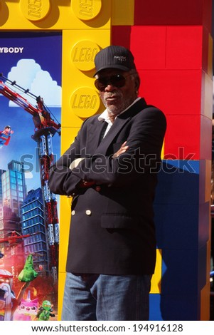 "LOS ANGELES - FEB 1:  Morgan Freeman_ at the ""Lego Movie"" Premiere at Village Theater on February 1, 2014 in Westwood, CA"