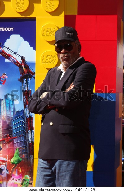 """LOS ANGELES - FEB 1:  Morgan Freeman_ at the """"Lego Movie"""" Premiere at Village Theater on February 1, 2014 in Westwood, CA"""