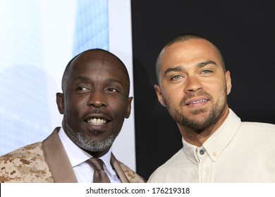 LOS ANGELES - FEB 10: Jesse Williams, Michael Kenneth Williams at the premiere of Columbia Pictures' 'Robocop' at TCL Chinese Theatre on February 10, 2014 in Los Angeles, California