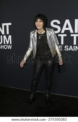 57c69d7d LOS ANGELES - FEB 10: Joan Jett arrives at the Saint Laurent fashion show  at the Hollywood Palladium on February 10, 2016 in Los Angeles, California  - Image