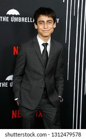 LOS ANGELES - FEB 12: Aidan Gallagher at the premiere of Netflix's 'The Umbrella Academy' at ArcLight Hollywood on February 12, 2019 in Los Angeles, California,