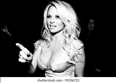 """LOS ANGELES - FEB. 12: Pamela Anderson attends the """"Fame At The Mansion"""" 2012 Grammy Aterparty hosted by Sean """"Diddy"""" Combs at the Playboy Mansion in Los Angeles on Feb. 12, 2012."""