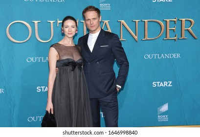 LOS ANGELES - FEB 13:  Caitriona Balfe and Sam Heughan arrives for the 'Outlander' Season 5 Premiere on February 13, 2020 in Hollywood, CA