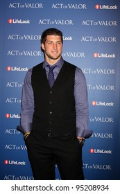 """LOS ANGELES - FEB 13:  Tim Tebow arrives at the """"Act of Valor"""" LA Premiere at the ArcLight Theaters on February 13, 2012 in Los Angeles, CA"""