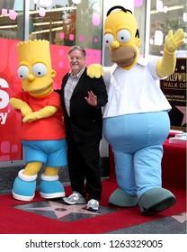 LOS ANGELES - FEB 14:  Bart Simpson, Matt Groening, Homer Simpson at the Matt Groening Star Ceremony on the Hollywood Walk of Fame on February 14, 2012 in Los Angeles, CA