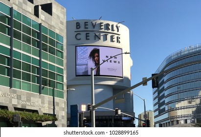 LOS ANGELES, FEB 16TH, 2018: The Beverly Center sign and building exterior at the intersection of San Vicente and Beverly Boulevard, across the street from Cedars Sinai medical center.