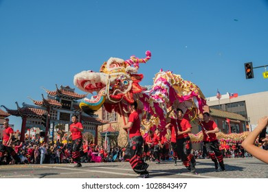 Los Angeles, FEB 17: Dragon and lion dance of the Golden Dragon Parade on FEB 17, 2018 at Los Angeles, California