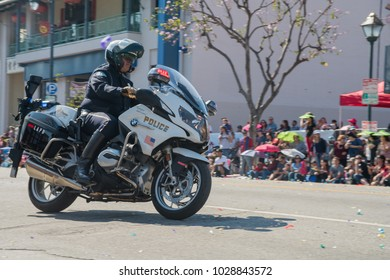 Los Angeles, FEB 17: Police with motorbike at Golden Dragon Parade on FEB 17, 2018 at Los Angeles, California
