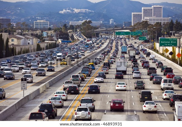 LOS ANGELES - FEB 17: A project to widen the San Diego Freeway, I-405, is underway with closures along adjoining streets on February 17, 2010.