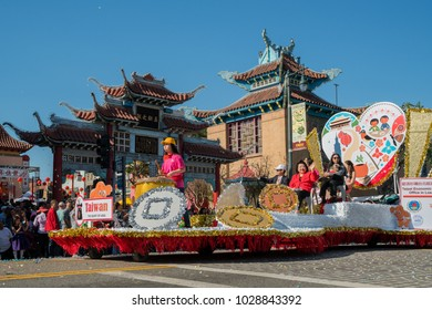 Los Angeles, FEB 17: The Taiwanese float at Golden Dragon Parade on FEB 17, 2018 at Los Angeles, California