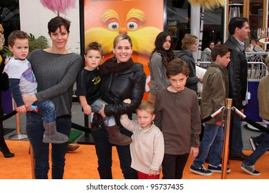 "LOS ANGELES - FEB 19:  Cat Cora and Family arrives at the ""Lorax"" Premiere at the Gibson Ampitheatre on February 19, 2012 in Los Angeles, CA."