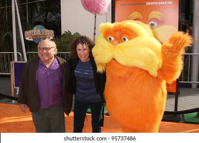 "LOS ANGELES - FEB 19:  Danny DeVito, Rhea Perlman, Lorax arrives at the ""Lorax"" Premiere at the Gibson Ampitheatre on February 19, 2012 in Los Angeles, CA."