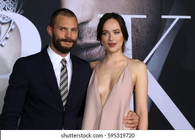 """LOS ANGELES - FEB 2:  Jamie Dornan, Dakota Johnson at the """"Fifty Shades Darker"""" World Premiere at Theater at Ace Hotel on February 2, 2017 in Los Angeles, CA"""