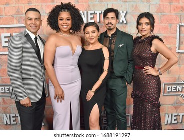 LOS ANGELES - FEB 20:  Actors J.J. Soria, Juliisa Calderon, Karrie Martin, Carlos Santos and Annie Gonzalez {Object} arrives for Netflix's 'Gentefied' Premiere on February 20, 2020 in Los Angeles, CA