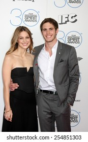 LOS ANGELES - FEB 21:  Melissa Benoist, Blake Jenner at the 30th Film Independent Spirit Awards at a tent on the beach on February 21, 2015 in Santa Monica, CA