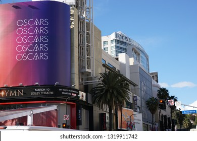 LOS ANGELES, Feb 21st, 2019: Oscar ad on red background at Hollywood and Highland shopping mall, advertising the 91st Academy Awards Oscar ceremony held at the Dolby Theatre on Hollywood Boulevard.