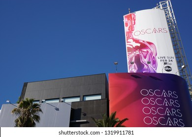 LOS ANGELES, Feb 21st, 2019: Low angle close up of the poster above Hollywood Boulevard advertising the 91st Academy Awards Oscar ceremony held at the Dolby Theatre.