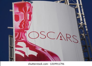 LOS ANGELES, Feb 21st, 2019: Extreme close up of the poster above Hollywood Boulevard advertising the 91st Academy Awards Oscar ceremony held at the Dolby Theatre.