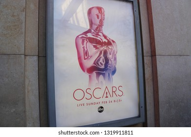 LOS ANGELES, Feb 21st, 2019: Close up of a small Oscar poster ad, advertising the 91st Academy Awards Oscar ceremony, at the entrance to the Hollywood and Highland shopping mall near the Dolby Theatre