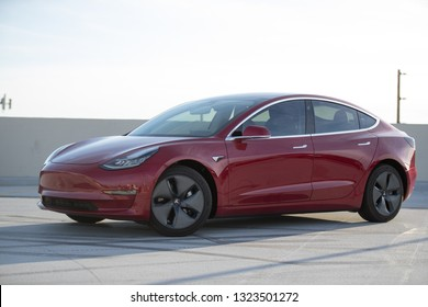 LOS ANGELES - FEB 23: A Tesla Model 3 in parking lot.  The Model 3 is the top selling electric vehicle in the US.
