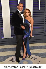 LOS ANGELES - FEB 24:  Alex Rodriguez and Jennifer Lopez arrives for the Vanity Fair Oscar Party on February 24, 2019 in Beverly Hills, CA