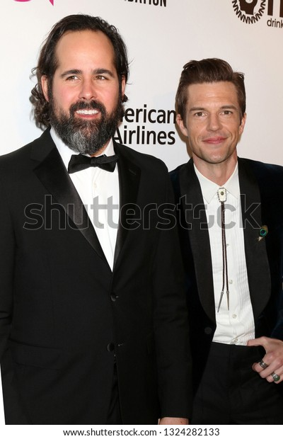 LOS ANGELES - FEB 24:   Brandon Flowers, Ronnie Vannucci Jr, The Killers at the Elton John Oscar Viewing Party on the West Hollywood Park on February 24, 2019 in West Hollywood, CA